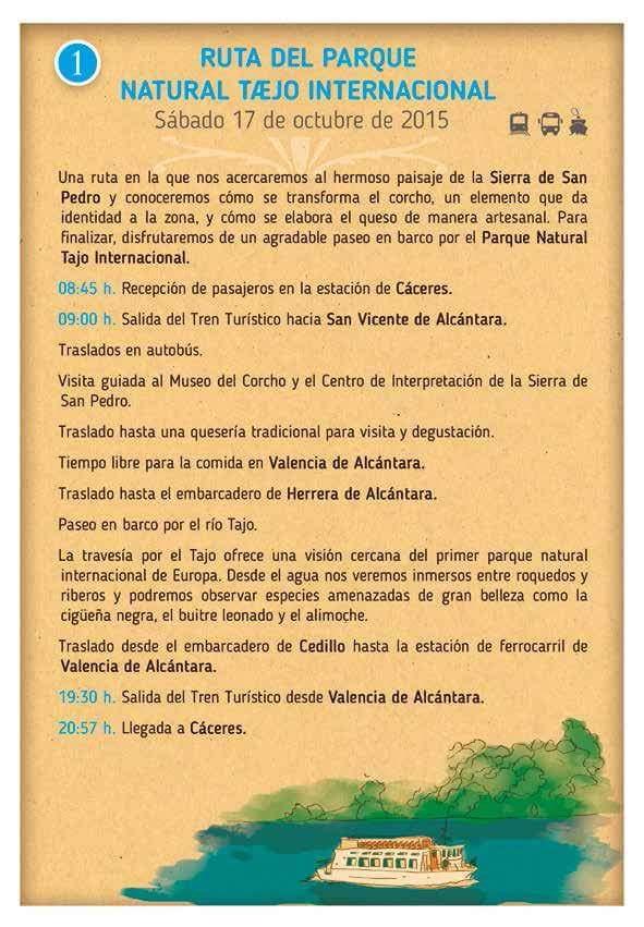 Ruta del Parque Natural Tajo Internacional, Trenes Turísticos Extremadura.