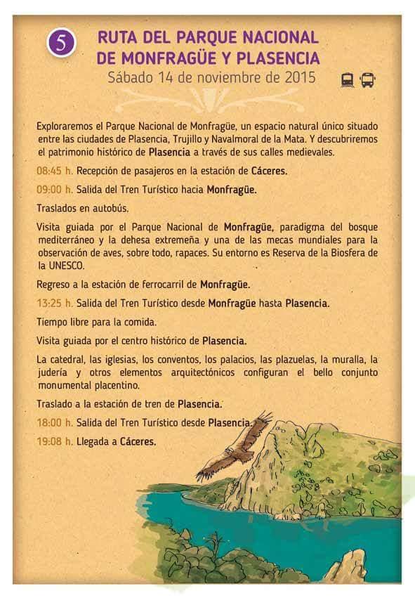 Ruta Parque Nacional de Monfragüe y Plasencia, Trenes Turísticos de Extremadura.