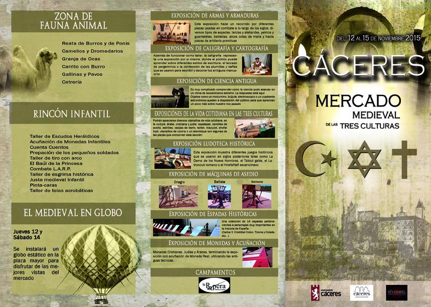 Triptico Mercado Medieval de las Tres Culturas de Cáceres 2015